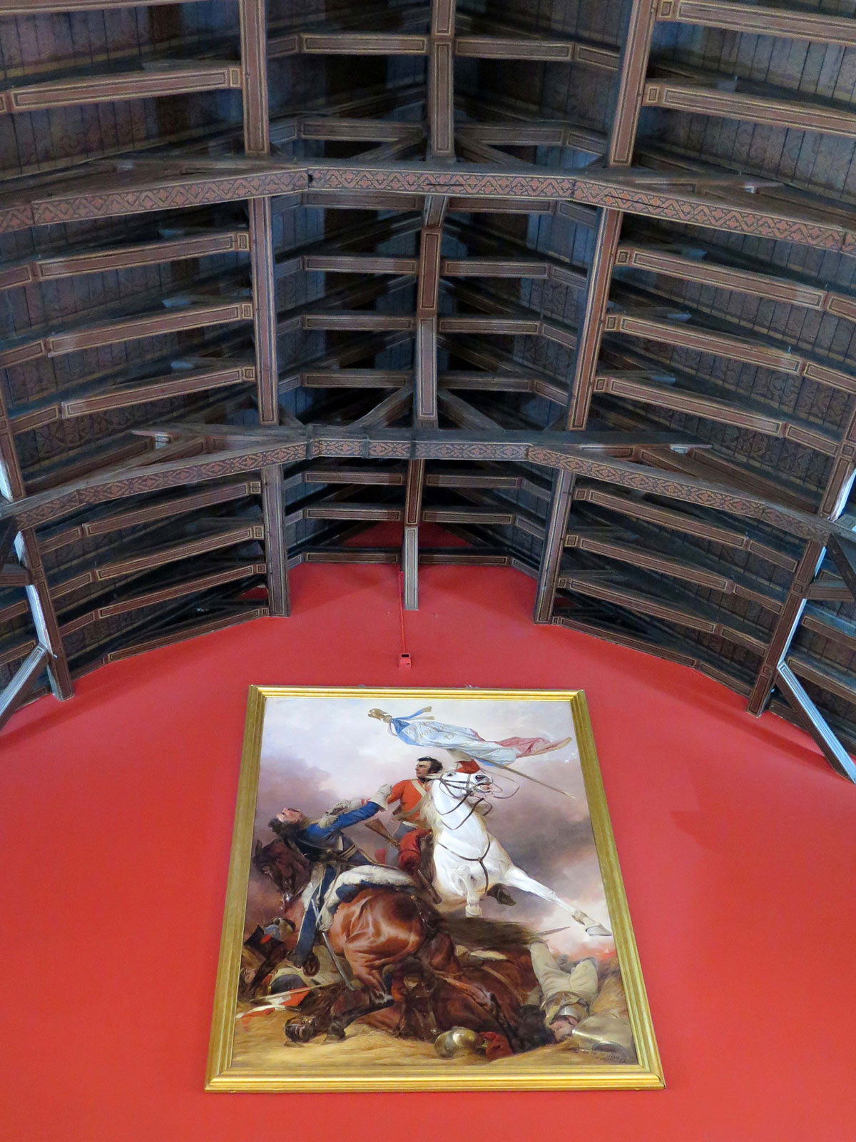 The Hammerbeam Roof and a painting showing a scene from the Battle of Waterloo