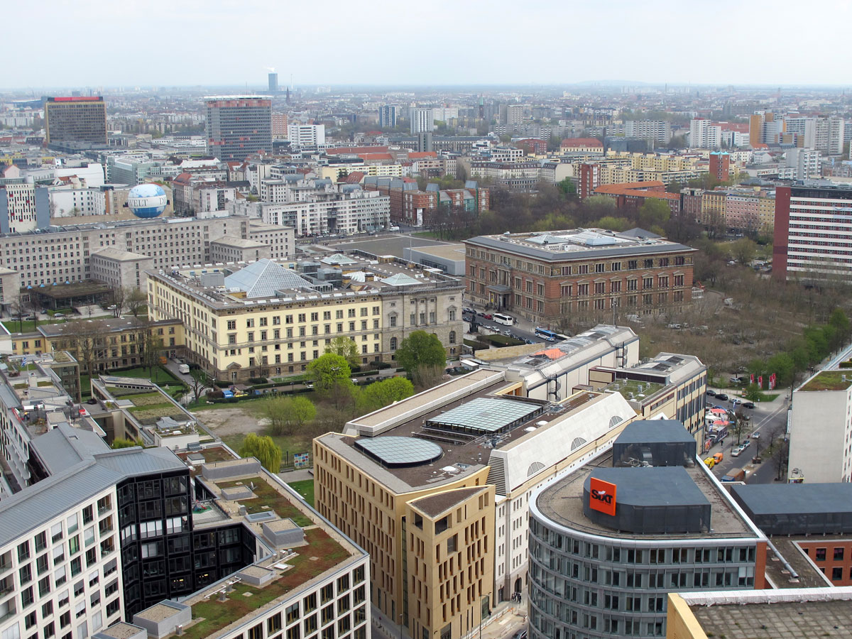 Looking towards Martin Gropius Bau, the Topography of Terror, and the former Air Ministry Building