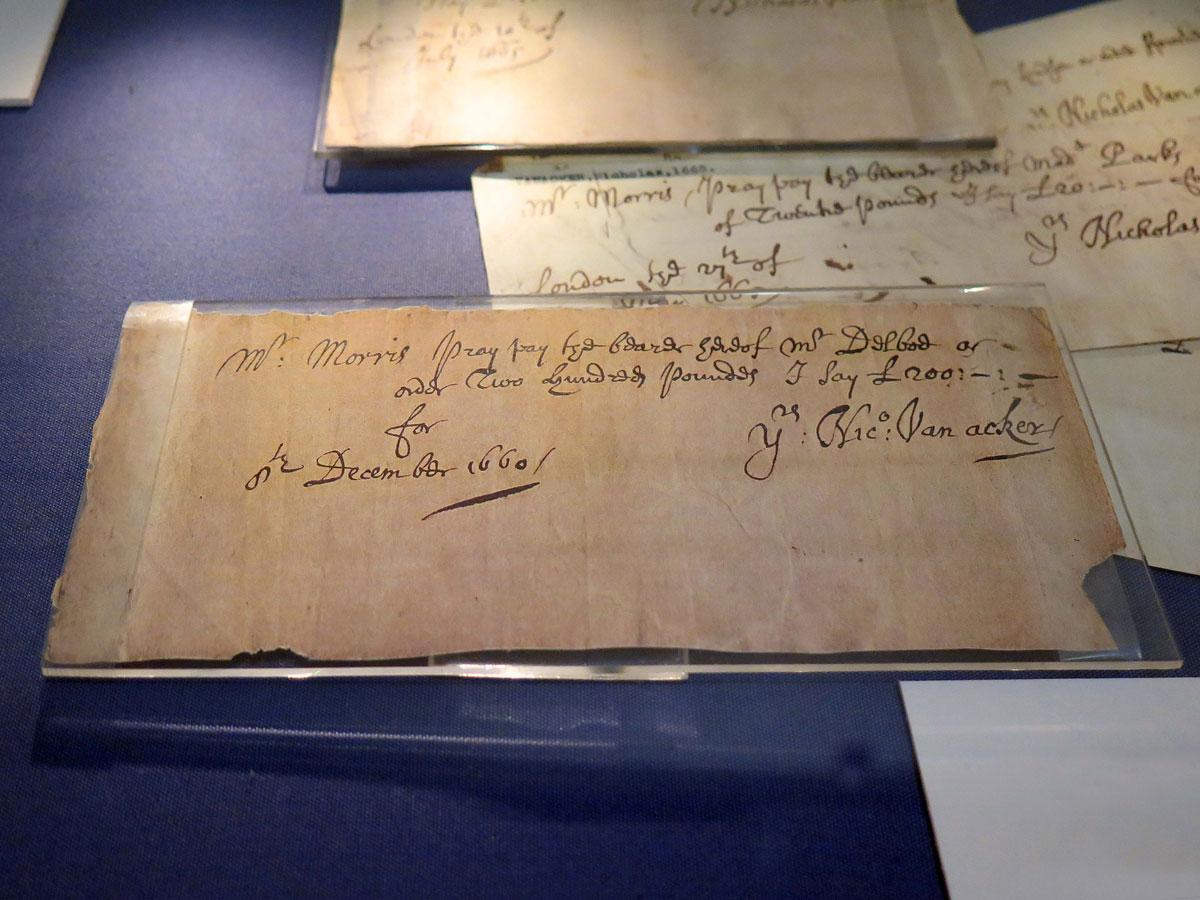 Handwritten checque from 1660
