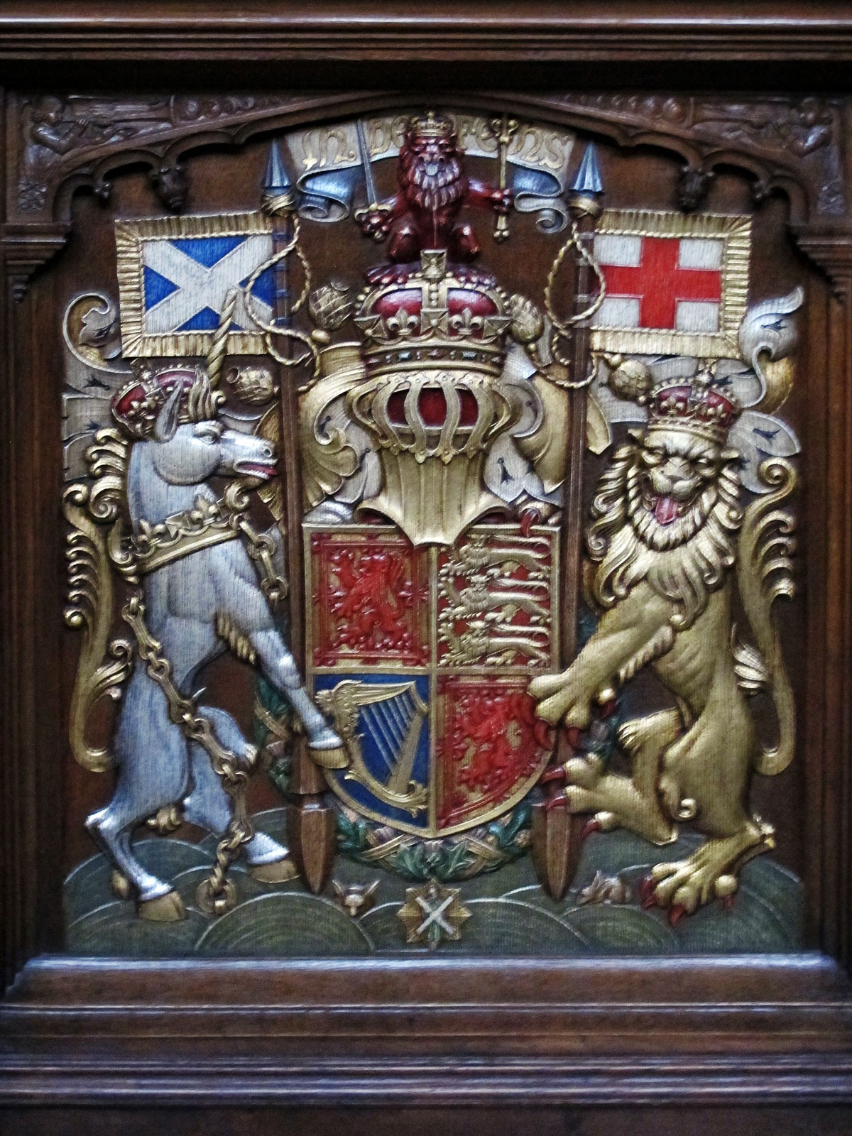 Royal Arms of Scotland on the Sovereign's Stall