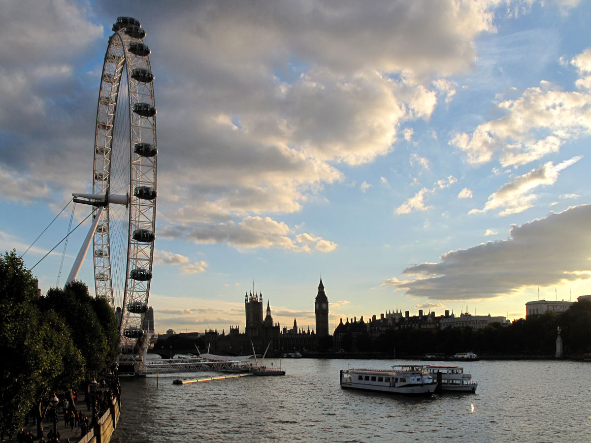 The London Eye and Westminster from the Queen's Walk