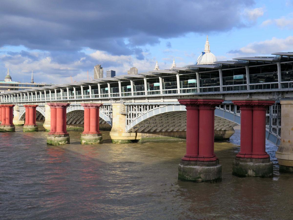 The Pink Pillars of the first Blackfriars Railway Bridge
