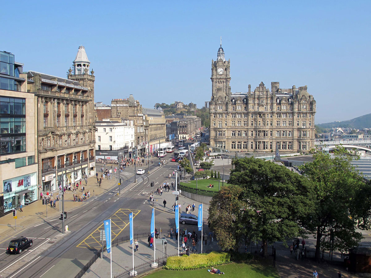 View from the second level looking towards the Balmoral Hotel and Calton Hill
