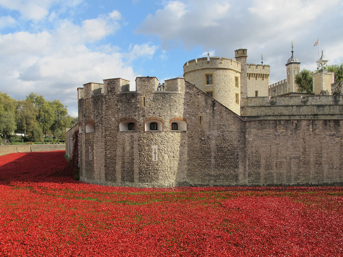 The Tower at the time of the 'Blood Swept Land and Seas of Red' art installation