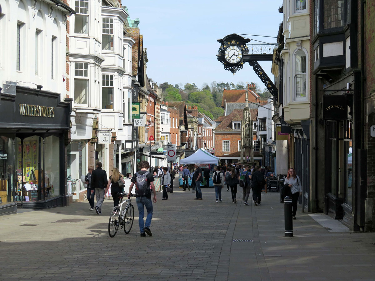 The High Street and the Great Bracket Clock outside the Old Guildhall