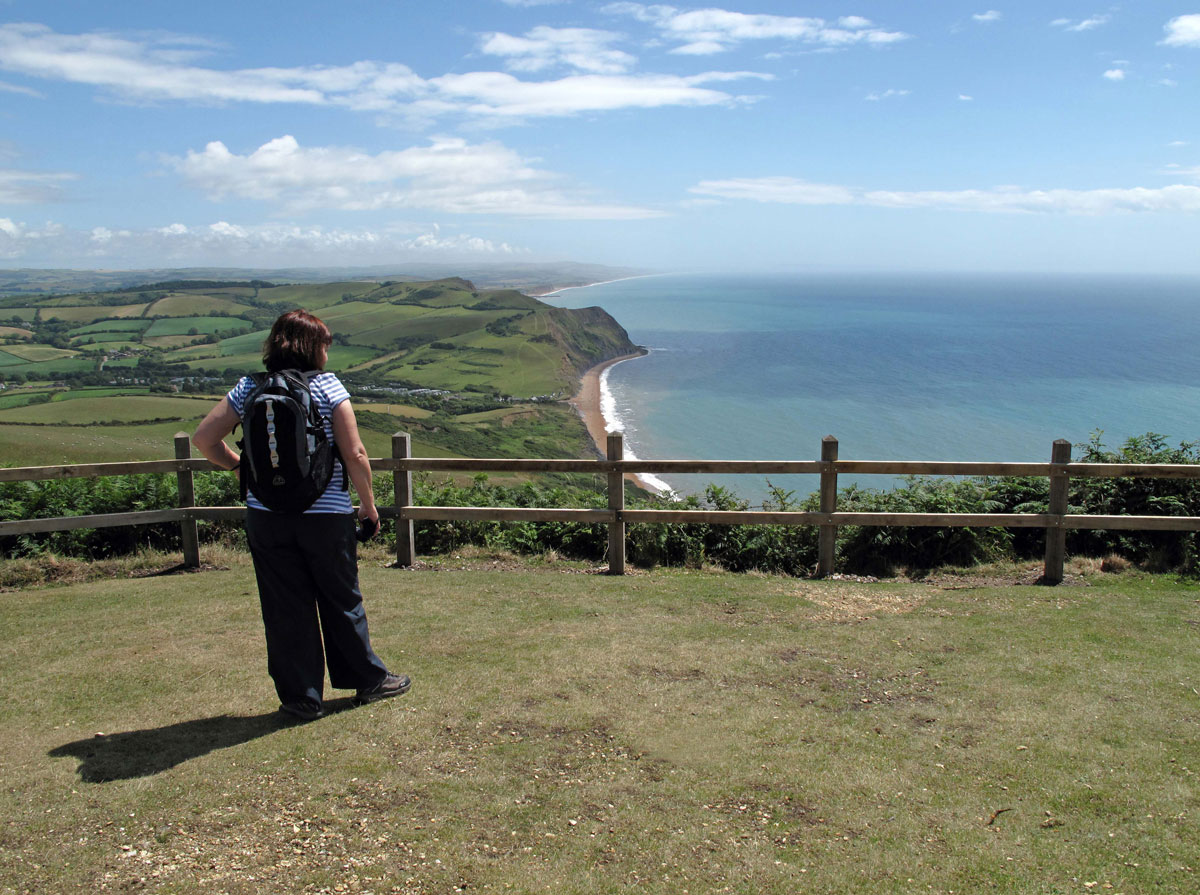 The view towards Chesil Beach from Golden Cap