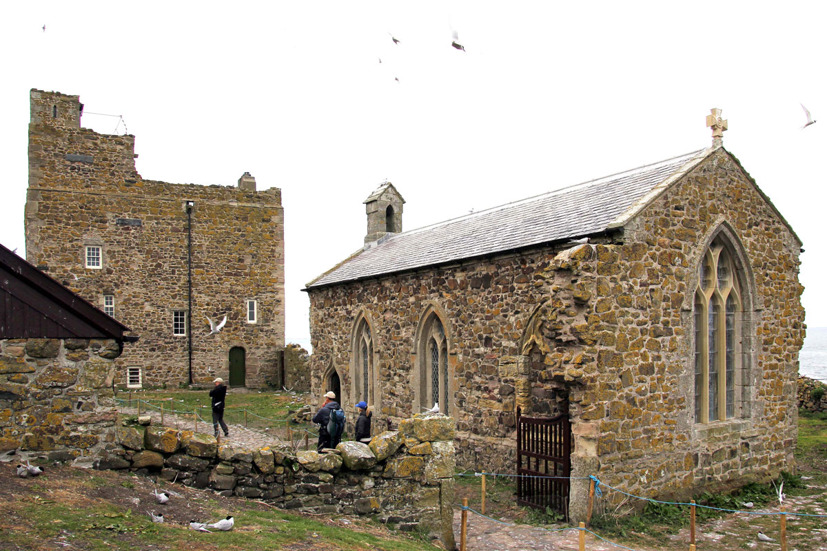 St Cuthbert's Chapel (and the 15th c Pele Tower)