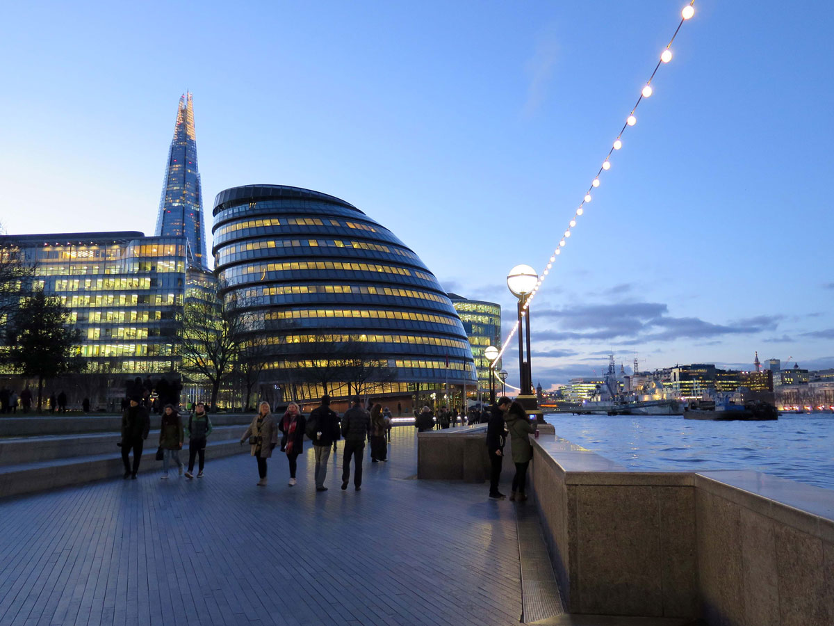 City Hall and the Riverside at Dusk