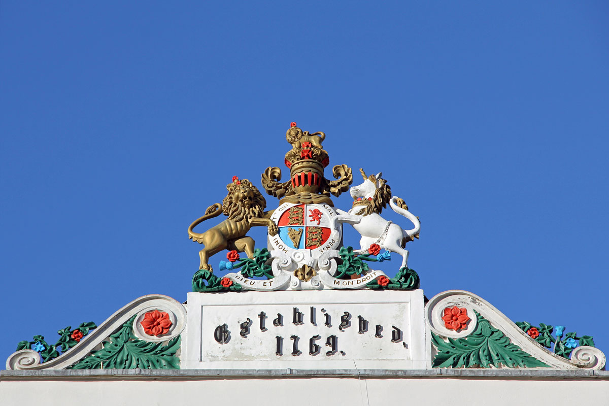 Royal Crest on top of the Royal C;larence Hotel